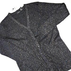 Vintage Cotton 1990s Metallic Blk Cardigan Sweater